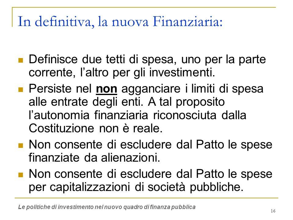16 In definitiva, la nuova Finanziaria: Definisce due tetti di spesa, uno per la parte corrente, laltro per gli investimenti. Persiste nel non agganci