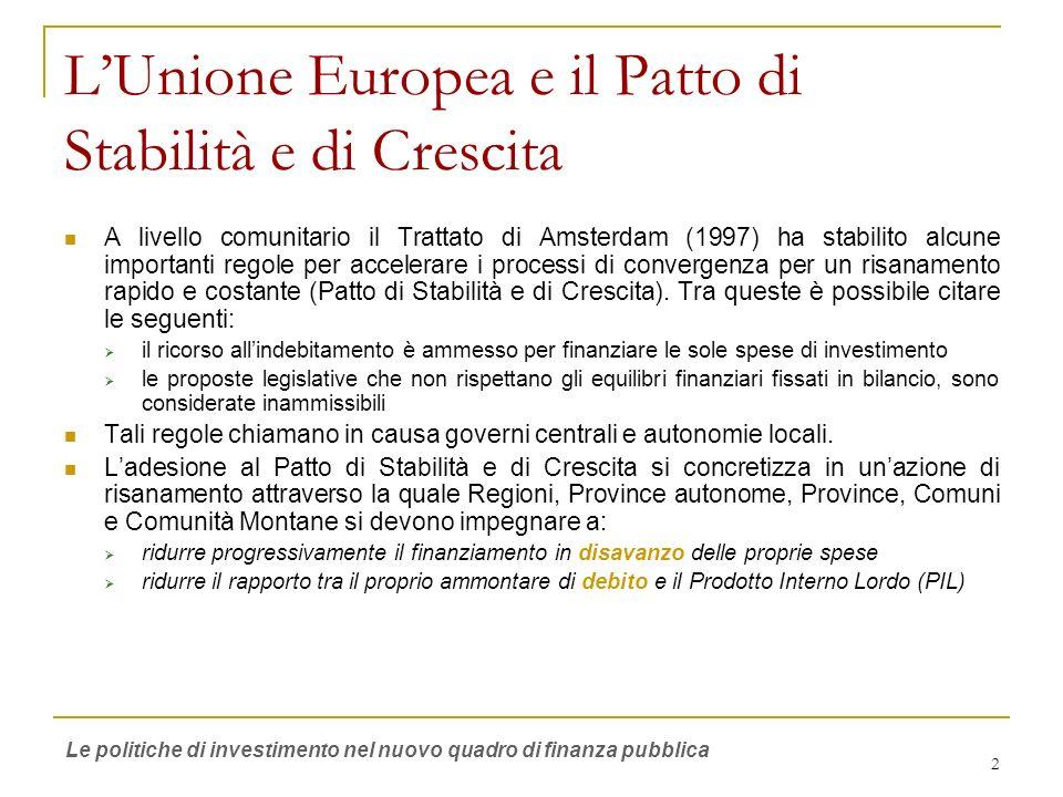 2 LUnione Europea e il Patto di Stabilità e di Crescita A livello comunitario il Trattato di Amsterdam (1997) ha stabilito alcune importanti regole pe