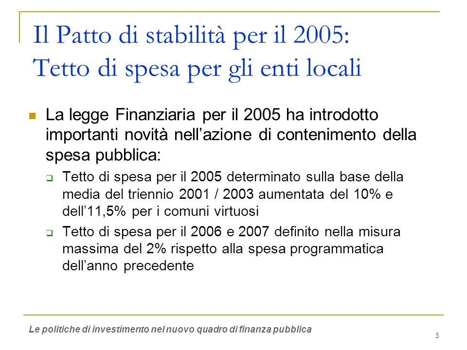 5 Il Patto di stabilità per il 2005: Tetto di spesa per gli enti locali La legge Finanziaria per il 2005 ha introdotto importanti novità nellazione di contenimento della spesa pubblica: Tetto di spesa per il 2005 determinato sulla base della media del triennio 2001 / 2003 aumentata del 10% e dell11,5% per i comuni virtuosi Tetto di spesa per il 2006 e 2007 definito nella misura massima del 2% rispetto alla spesa programmatica dellanno precedente Le politiche di investimento nel nuovo quadro di finanza pubblica