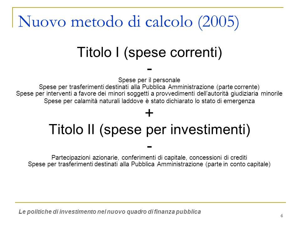 6 Nuovo metodo di calcolo (2005) Titolo I (spese correnti) - Spese per il personale Spese per trasferimenti destinati alla Pubblica Amministrazione (p