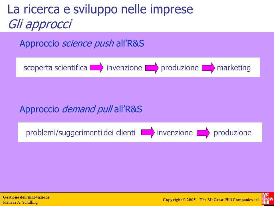 Gestione dellinnovazione Melissa A. Schilling Copyright © 2005 – The McGraw-Hill Companies srl La ricerca e sviluppo nelle imprese Gli approcci Approc