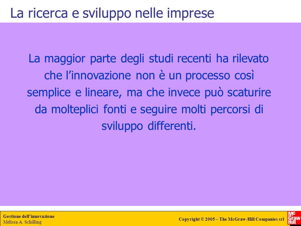 Gestione dellinnovazione Melissa A. Schilling Copyright © 2005 – The McGraw-Hill Companies srl La ricerca e sviluppo nelle imprese La maggior parte de