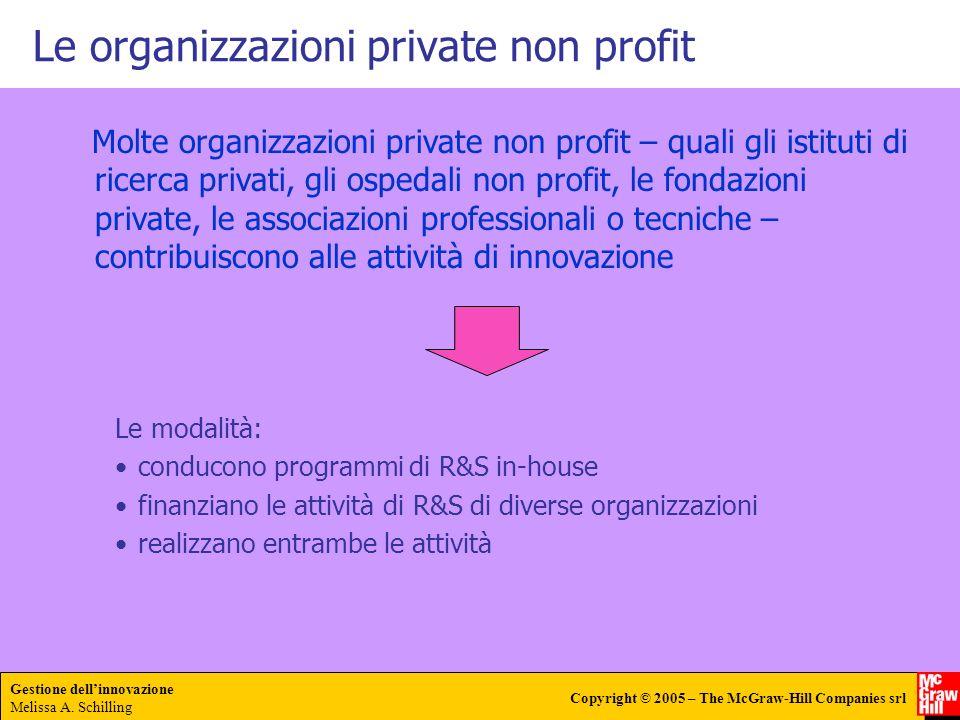 Gestione dellinnovazione Melissa A. Schilling Copyright © 2005 – The McGraw-Hill Companies srl Le organizzazioni private non profit Molte organizzazio