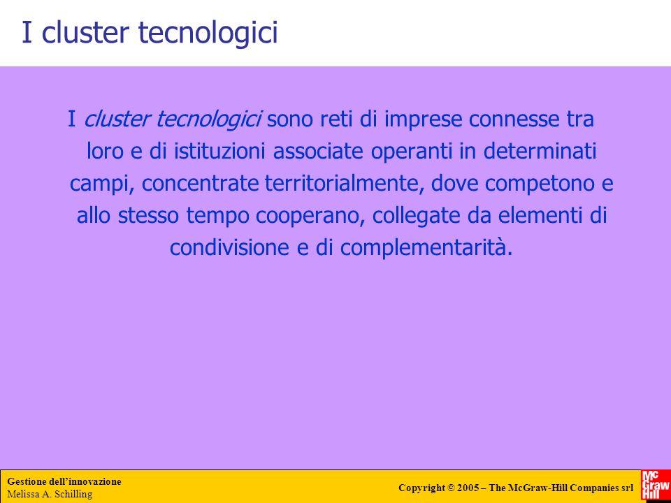 Gestione dellinnovazione Melissa A. Schilling Copyright © 2005 – The McGraw-Hill Companies srl I cluster tecnologici I cluster tecnologici sono reti d
