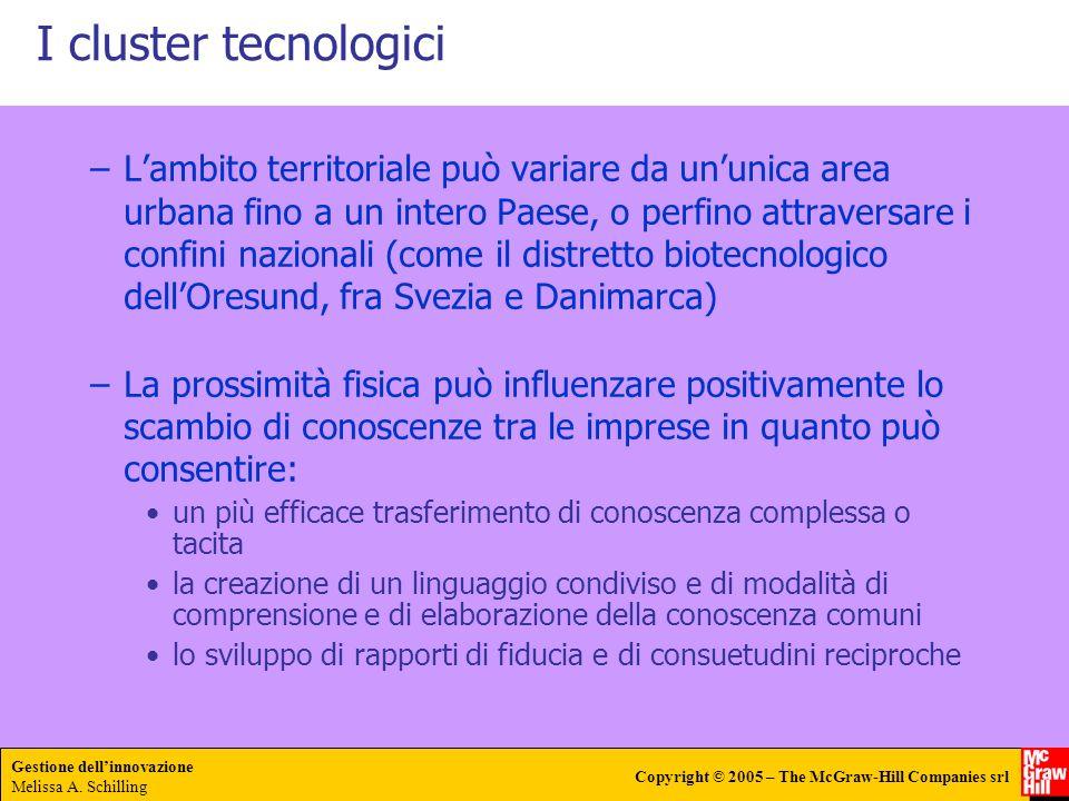 Gestione dellinnovazione Melissa A. Schilling Copyright © 2005 – The McGraw-Hill Companies srl I cluster tecnologici –Lambito territoriale può variare
