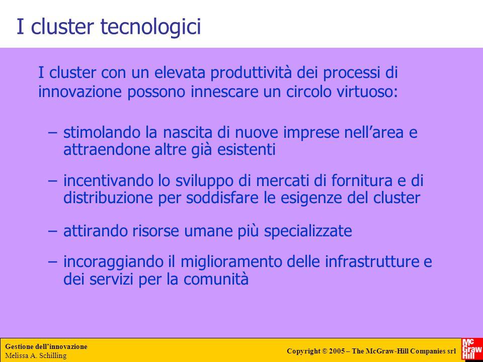 Gestione dellinnovazione Melissa A. Schilling Copyright © 2005 – The McGraw-Hill Companies srl I cluster tecnologici I cluster con un elevata produtti