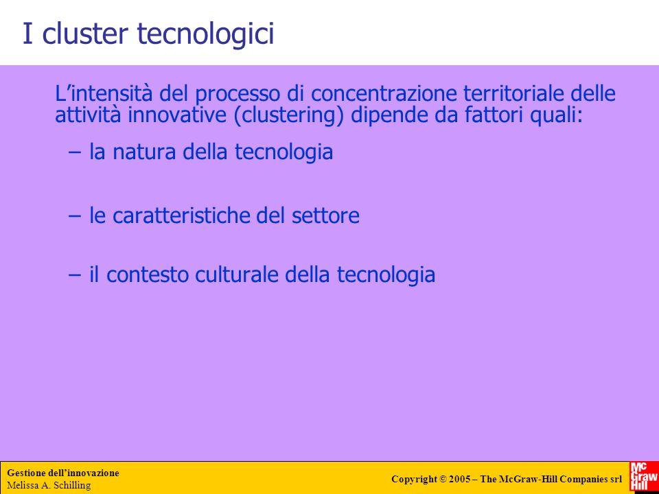 Gestione dellinnovazione Melissa A. Schilling Copyright © 2005 – The McGraw-Hill Companies srl I cluster tecnologici Lintensità del processo di concen