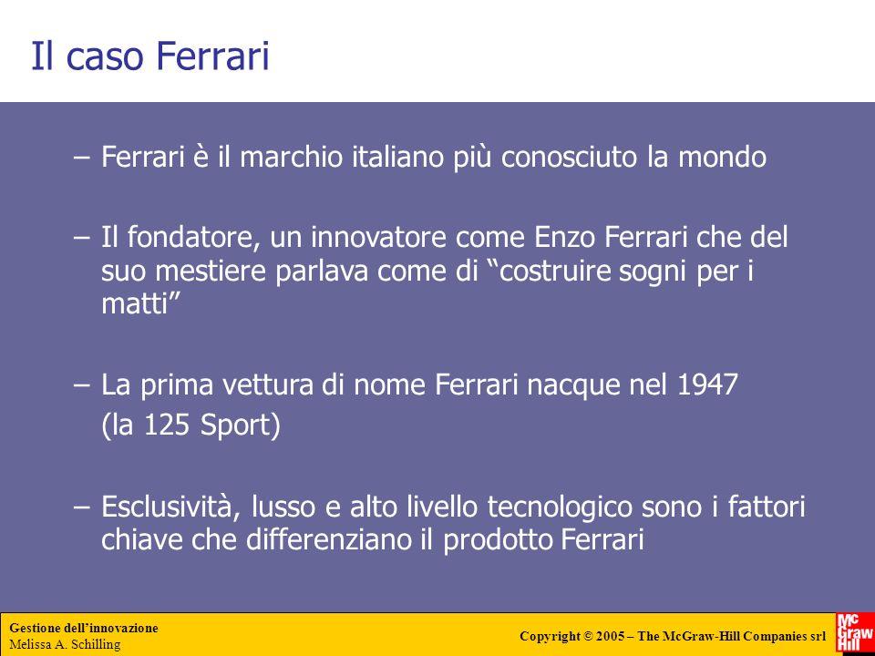 Gestione dellinnovazione Melissa A. Schilling Copyright © 2005 – The McGraw-Hill Companies srl Il caso Ferrari –Ferrari è il marchio italiano più cono
