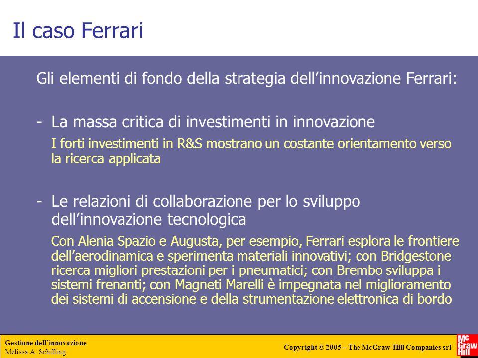 Gestione dellinnovazione Melissa A. Schilling Copyright © 2005 – The McGraw-Hill Companies srl Il caso Ferrari Gli elementi di fondo della strategia d