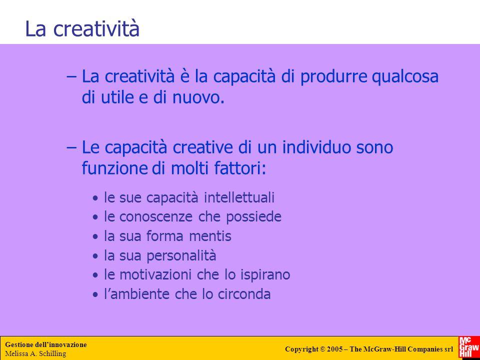 Gestione dellinnovazione Melissa A. Schilling Copyright © 2005 – The McGraw-Hill Companies srl –La creatività è la capacità di produrre qualcosa di ut