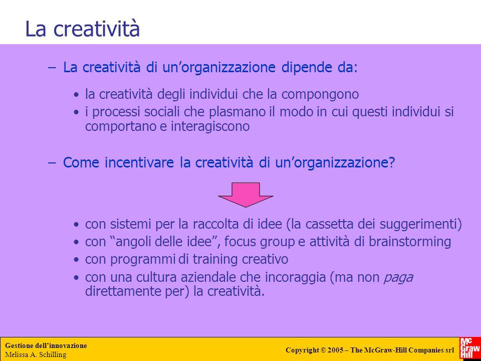 Gestione dellinnovazione Melissa A. Schilling Copyright © 2005 – The McGraw-Hill Companies srl –La creatività di unorganizzazione dipende da: la creat