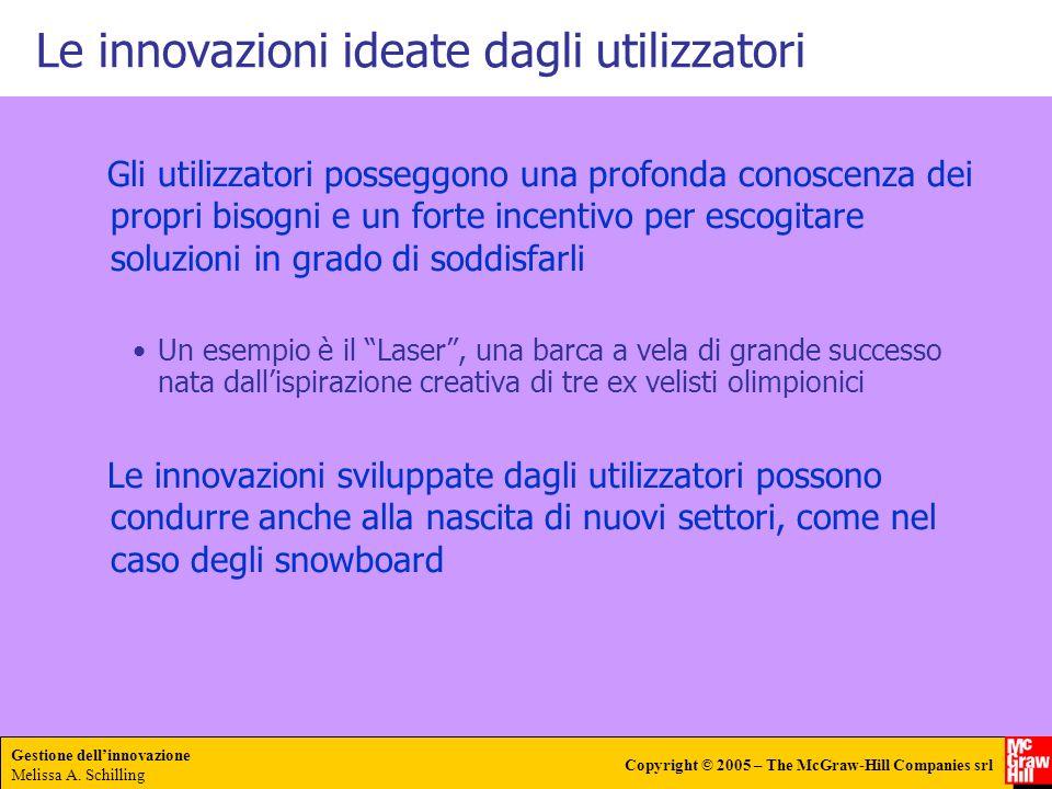 Gestione dellinnovazione Melissa A. Schilling Copyright © 2005 – The McGraw-Hill Companies srl Le innovazioni ideate dagli utilizzatori Gli utilizzato