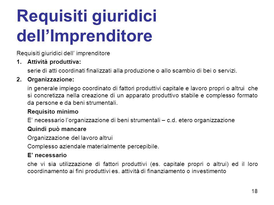 Requisiti giuridici dellImprenditore Requisiti giuridici dell imprenditore 1.Attività produttiva: serie di atti coordinati finalizzati alla produzione o allo scambio di bei o servizi.