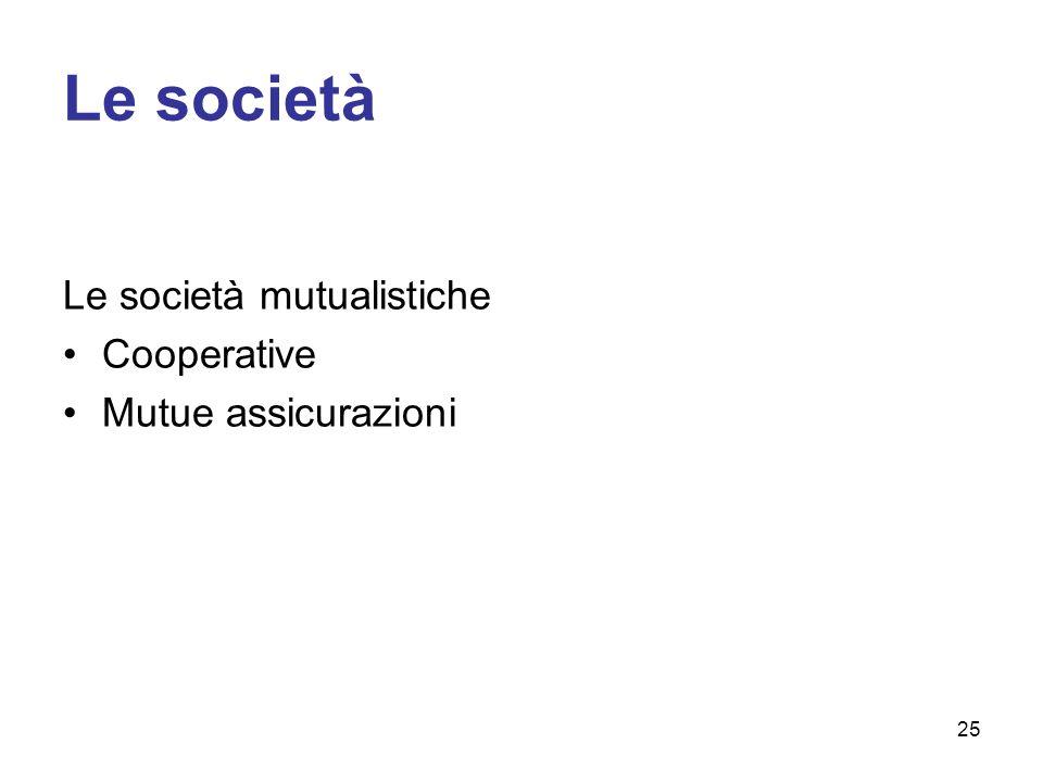 Le società Le società mutualistiche Cooperative Mutue assicurazioni 25