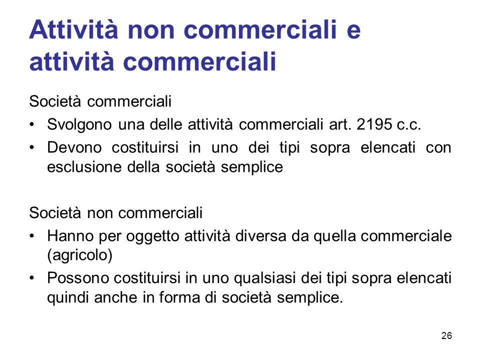 Attività non commerciali e attività commerciali Società commerciali Svolgono una delle attività commerciali art.