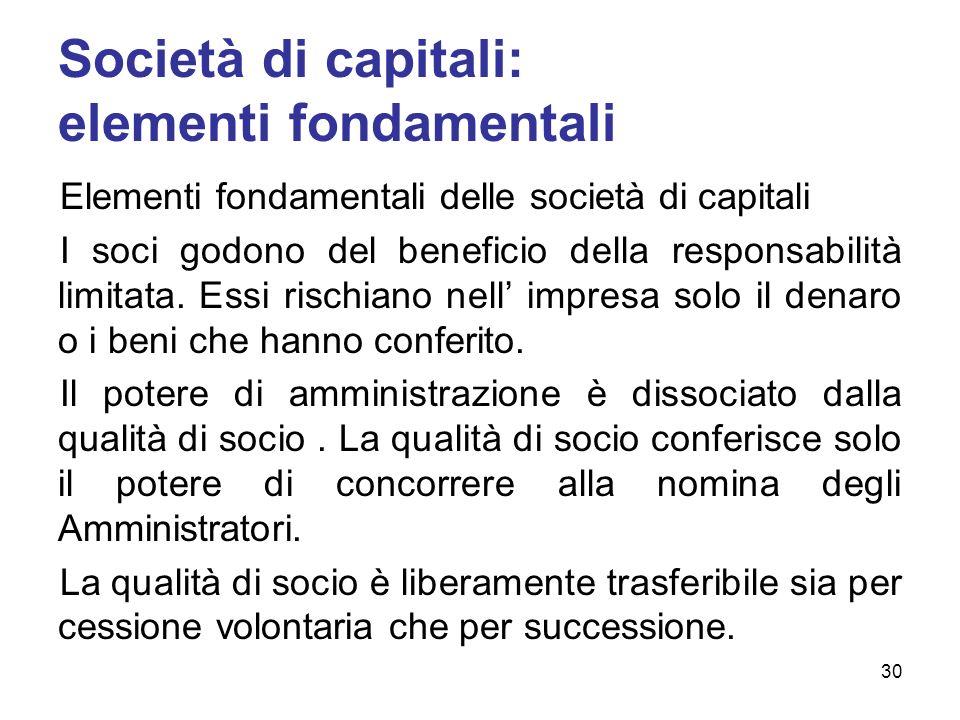 Società di capitali: elementi fondamentali Elementi fondamentali delle società di capitali I soci godono del beneficio della responsabilità limitata.