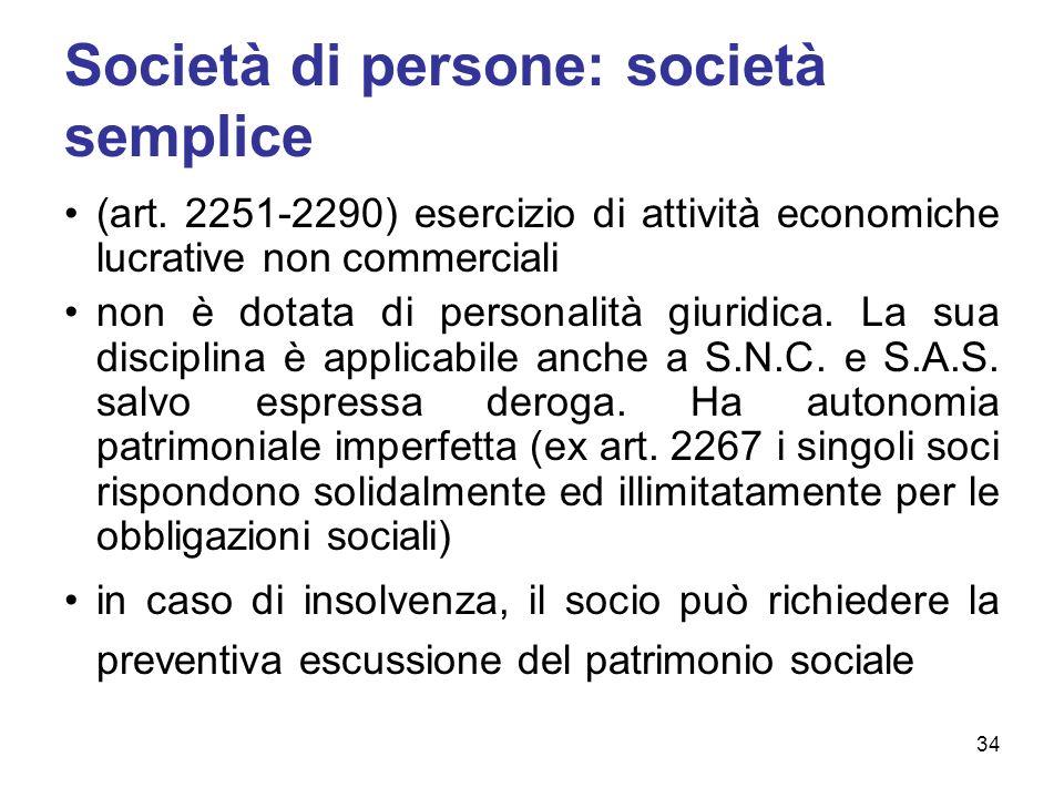 Società di persone: società semplice (art.