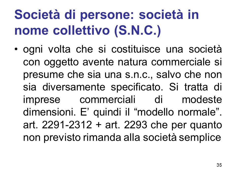 Società di persone: società in nome collettivo (S.N.C.) ogni volta che si costituisce una società con oggetto avente natura commerciale si presume che sia una s.n.c., salvo che non sia diversamente specificato.