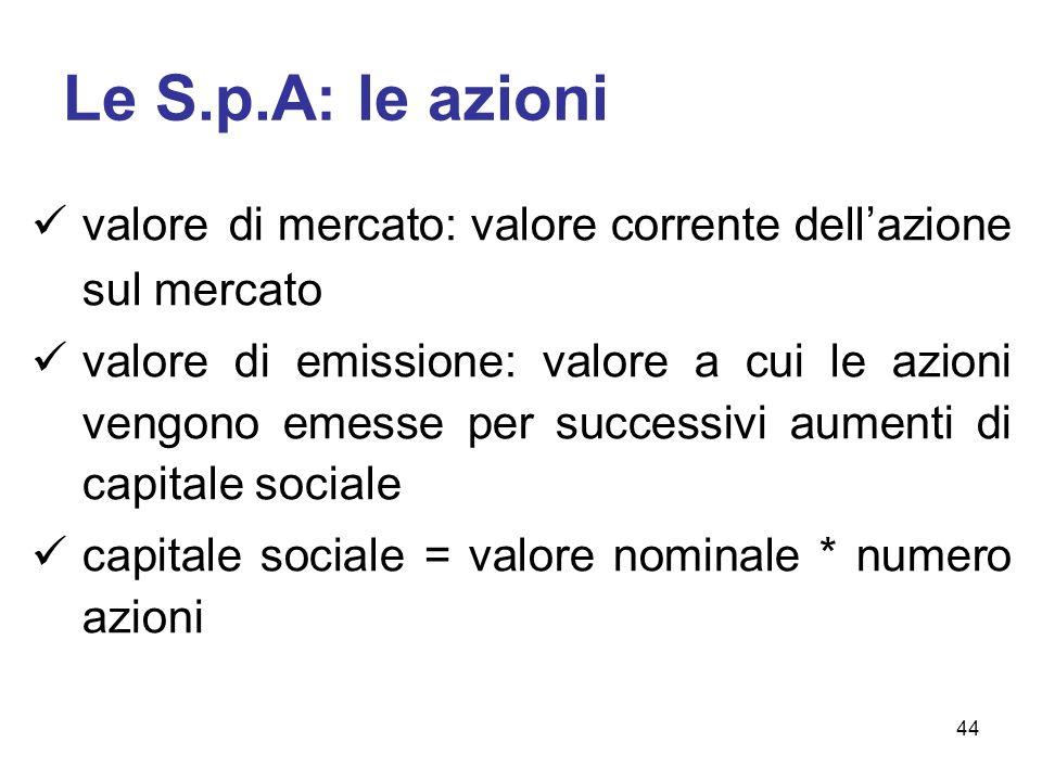 Le S.p.A: le azioni valore di mercato: valore corrente dellazione sul mercato valore di emissione: valore a cui le azioni vengono emesse per successivi aumenti di capitale sociale capitale sociale = valore nominale * numero azioni 44