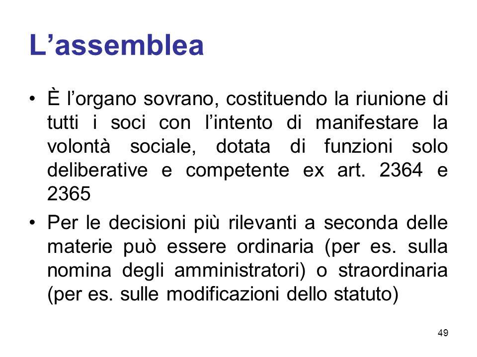 Lassemblea È lorgano sovrano, costituendo la riunione di tutti i soci con lintento di manifestare la volontà sociale, dotata di funzioni solo deliberative e competente ex art.
