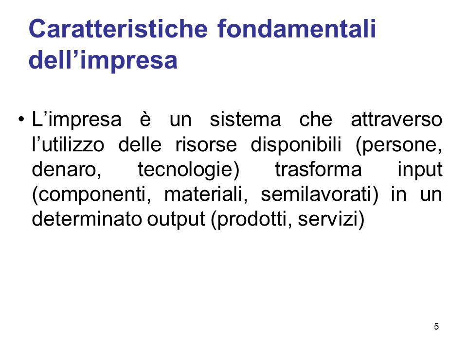Caratteristiche fondamentali dellimpresa Limpresa è un sistema che attraverso lutilizzo delle risorse disponibili (persone, denaro, tecnologie) trasforma input (componenti, materiali, semilavorati) in un determinato output (prodotti, servizi) 5
