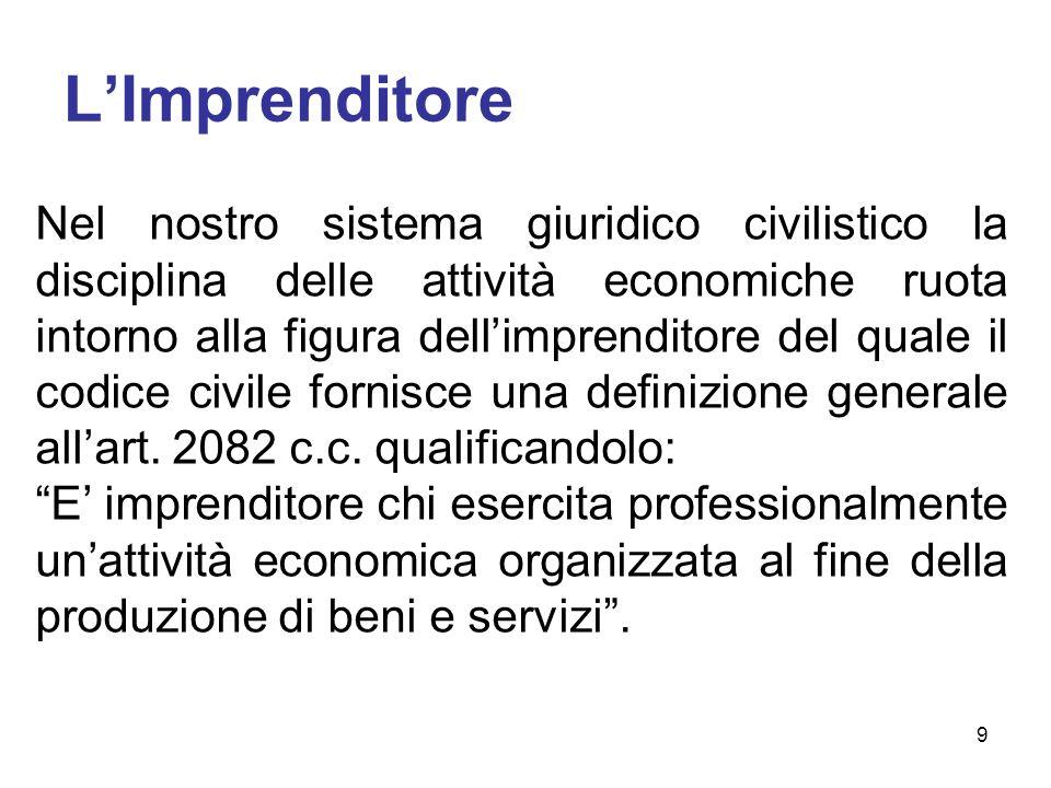 LImprenditore Nel nostro sistema giuridico civilistico la disciplina delle attività economiche ruota intorno alla figura dellimprenditore del quale il codice civile fornisce una definizione generale allart.