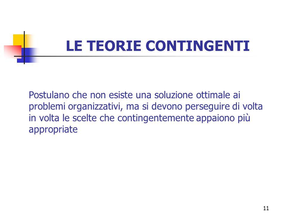 11 LE TEORIE CONTINGENTI Postulano che non esiste una soluzione ottimale ai problemi organizzativi, ma si devono perseguire di volta in volta le scelt