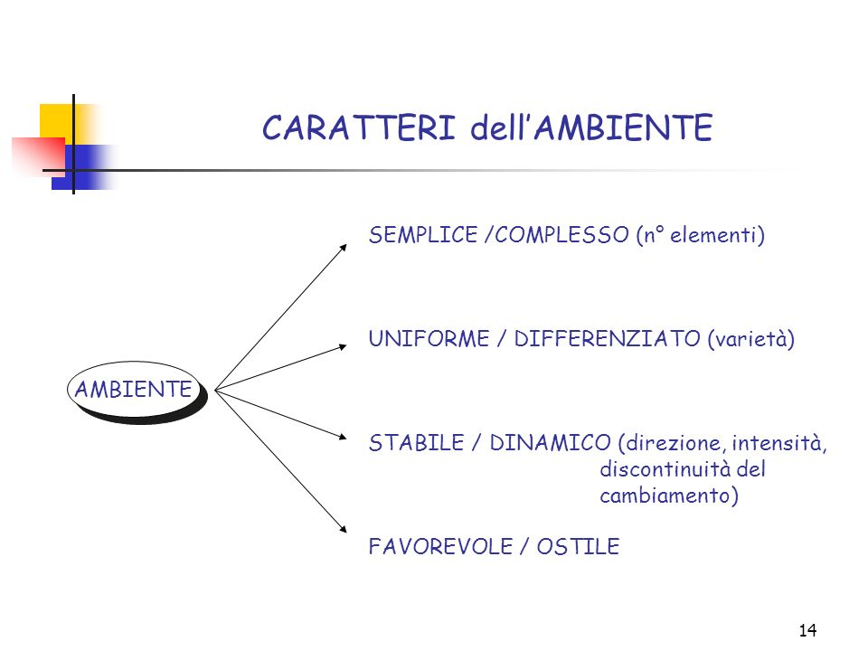 14 CARATTERI dellAMBIENTE SEMPLICE /COMPLESSO (n° elementi) UNIFORME / DIFFERENZIATO (varietà) STABILE / DINAMICO (direzione, intensità, discontinuità