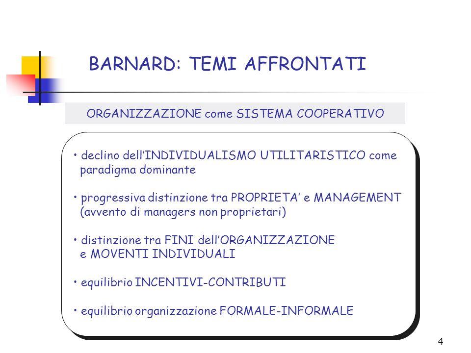 4 BARNARD: TEMI AFFRONTATI declino dellINDIVIDUALISMO UTILITARISTICO come paradigma dominante progressiva distinzione tra PROPRIETA e MANAGEMENT (avve