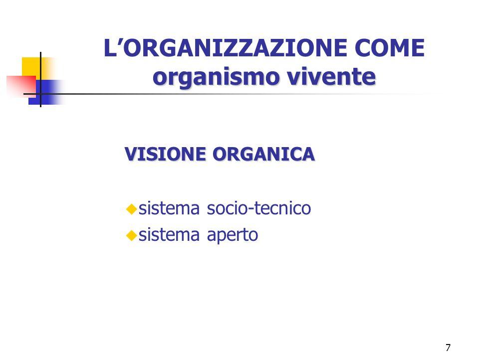 7 organismo vivente LORGANIZZAZIONE COME organismo vivente VISIONE ORGANICA u sistema socio-tecnico u sistema aperto