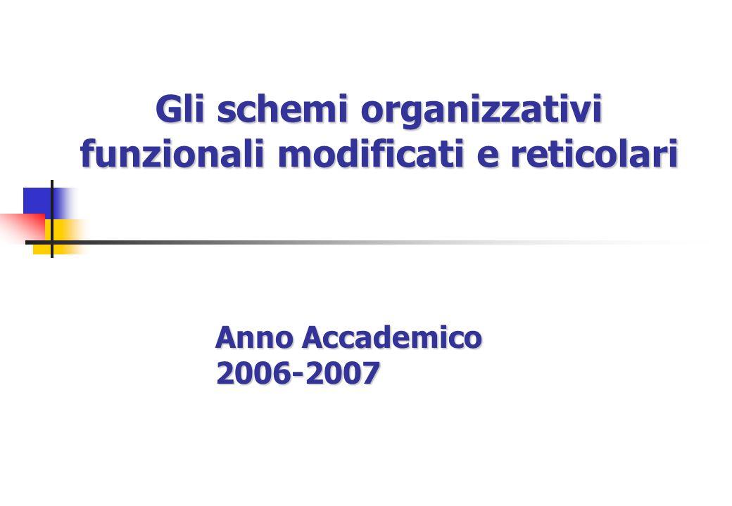Gli schemi organizzativi funzionali modificati e reticolari Anno Accademico 2006-2007