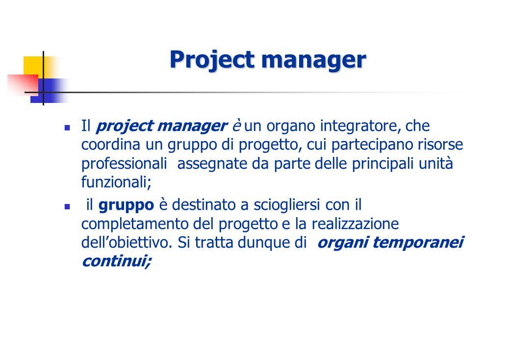 Project manager Il project manager è un organo integratore, che coordina un gruppo di progetto, cui partecipano risorse professionali assegnate da parte delle principali unità funzionali; il gruppo è destinato a sciogliersi con il completamento del progetto e la realizzazione dellobiettivo.