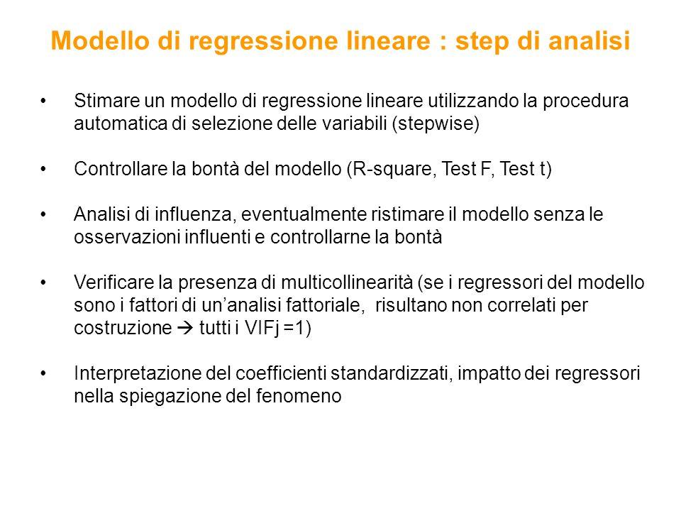 Modello di regressione lineare : step di analisi Stimare un modello di regressione lineare utilizzando la procedura automatica di selezione delle vari