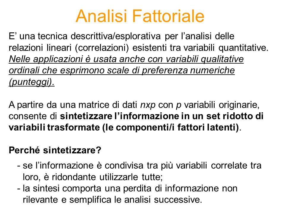 Analisi Fattoriale E una tecnica descrittiva/esplorativa per lanalisi delle relazioni lineari (correlazioni) esistenti tra variabili quantitative. Nel