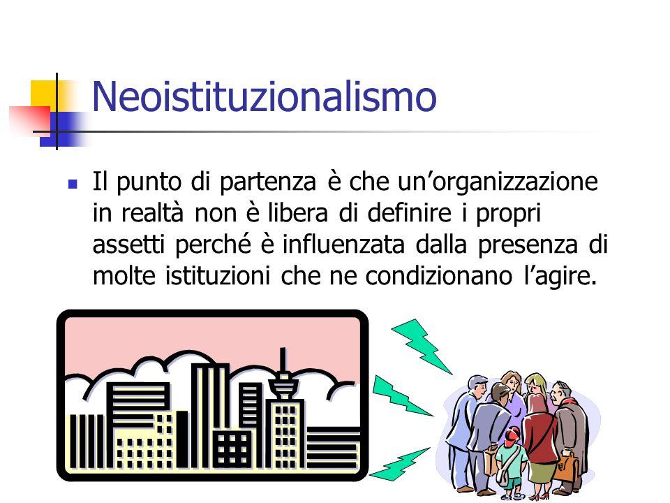 Neoistituzionalismo Il punto di partenza è che unorganizzazione in realtà non è libera di definire i propri assetti perché è influenzata dalla presenz