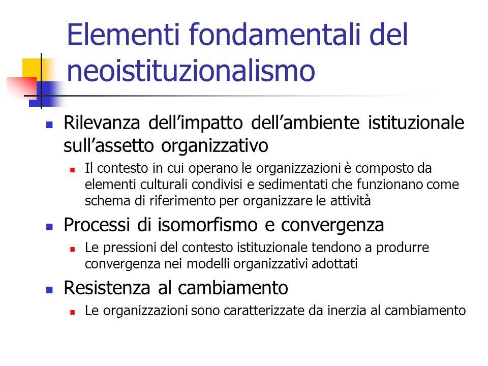 Elementi fondamentali del neoistituzionalismo Rilevanza dellimpatto dellambiente istituzionale sullassetto organizzativo Il contesto in cui operano le