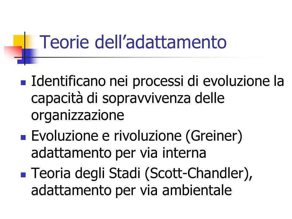 Teorie delladattamento Identificano nei processi di evoluzione la capacità di sopravvivenza delle organizzazione Evoluzione e rivoluzione (Greiner) ad