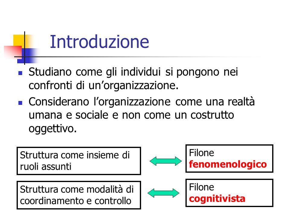 Introduzione Studiano come gli individui si pongono nei confronti di unorganizzazione. Considerano lorganizzazione come una realtà umana e sociale e n