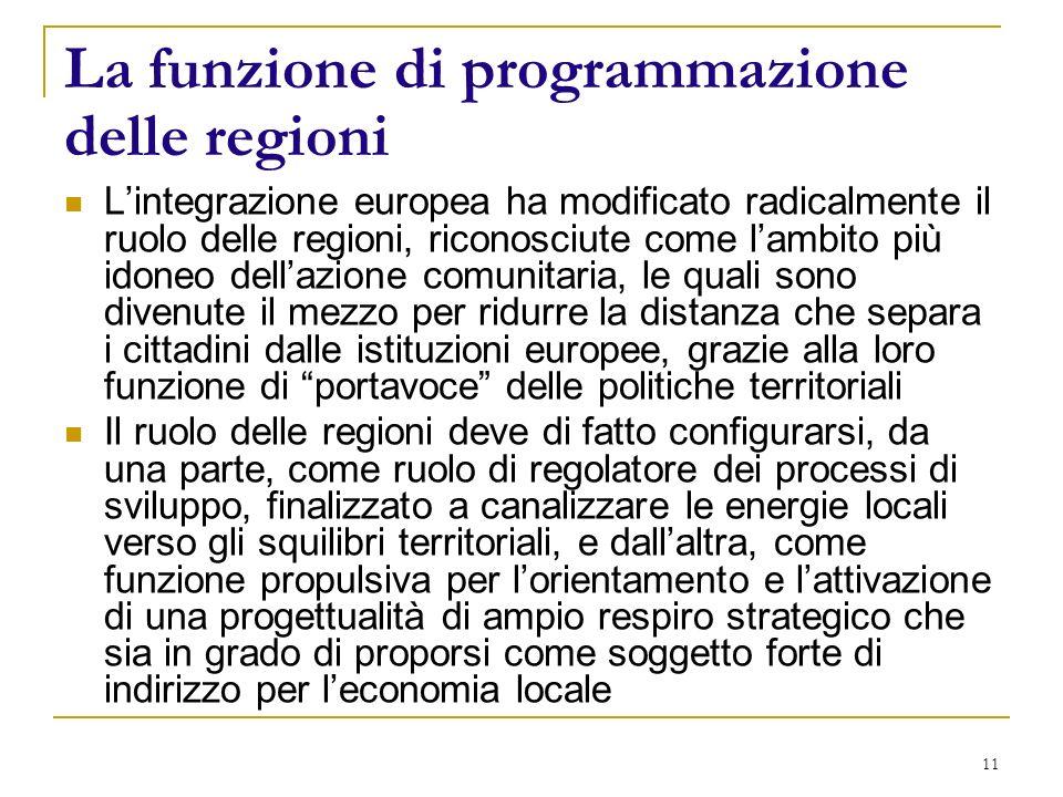 11 La funzione di programmazione delle regioni Lintegrazione europea ha modificato radicalmente il ruolo delle regioni, riconosciute come lambito più idoneo dellazione comunitaria, le quali sono divenute il mezzo per ridurre la distanza che separa i cittadini dalle istituzioni europee, grazie alla loro funzione di portavoce delle politiche territoriali Il ruolo delle regioni deve di fatto configurarsi, da una parte, come ruolo di regolatore dei processi di sviluppo, finalizzato a canalizzare le energie locali verso gli squilibri territoriali, e dallaltra, come funzione propulsiva per lorientamento e lattivazione di una progettualità di ampio respiro strategico che sia in grado di proporsi come soggetto forte di indirizzo per leconomia locale
