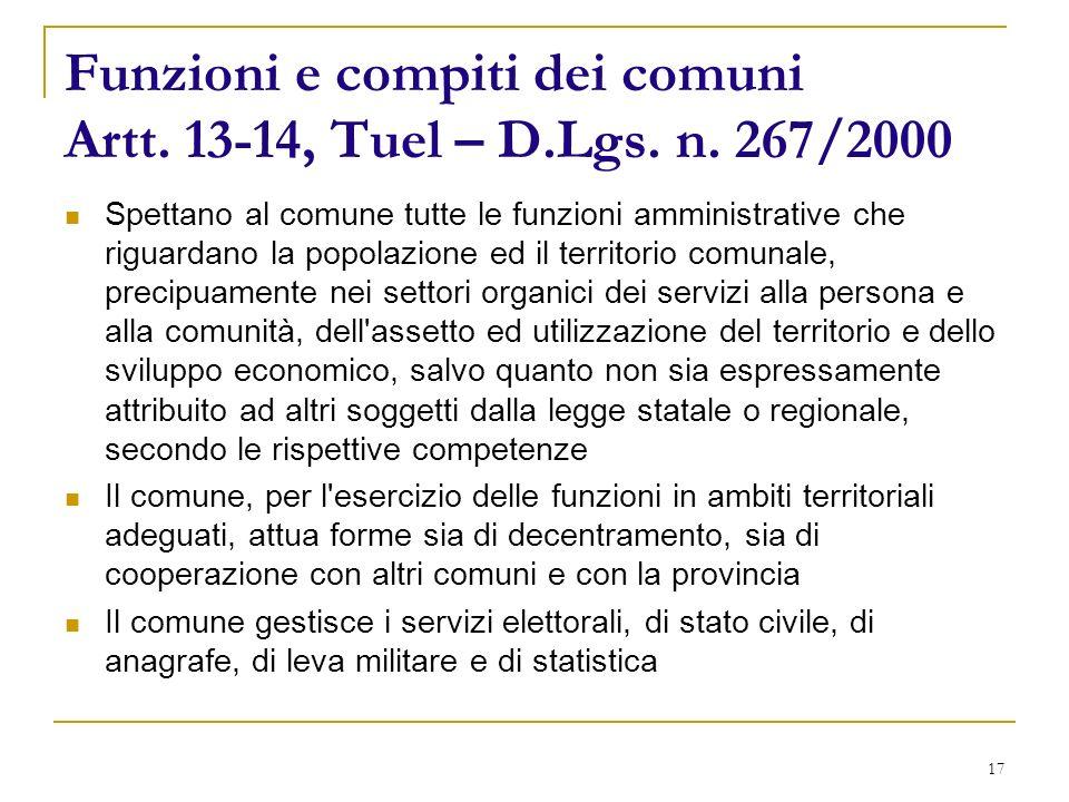17 Funzioni e compiti dei comuni Artt. 13-14, Tuel – D.Lgs.