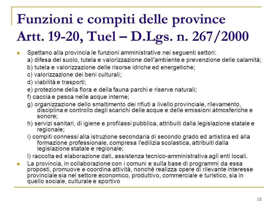 18 Funzioni e compiti delle province Artt. 19-20, Tuel – D.Lgs.