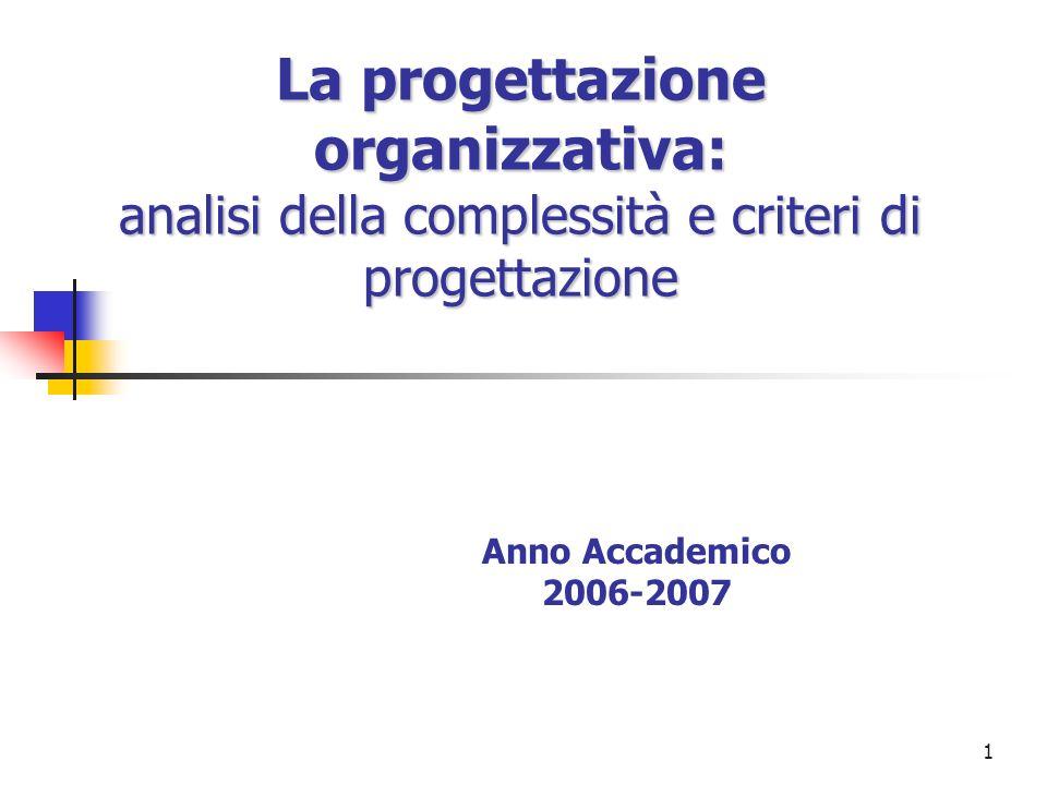 2 Approccio alla progettazione organizzativa Un valido approccio alla progettazione organizzativa comporta che si valutino attentamente i fattori di criticità che derivano: dallarticolazione delle combinazioni aziendali dalle condizioni ambientali prescindendo dal considerare lassetto organizzativo in atto