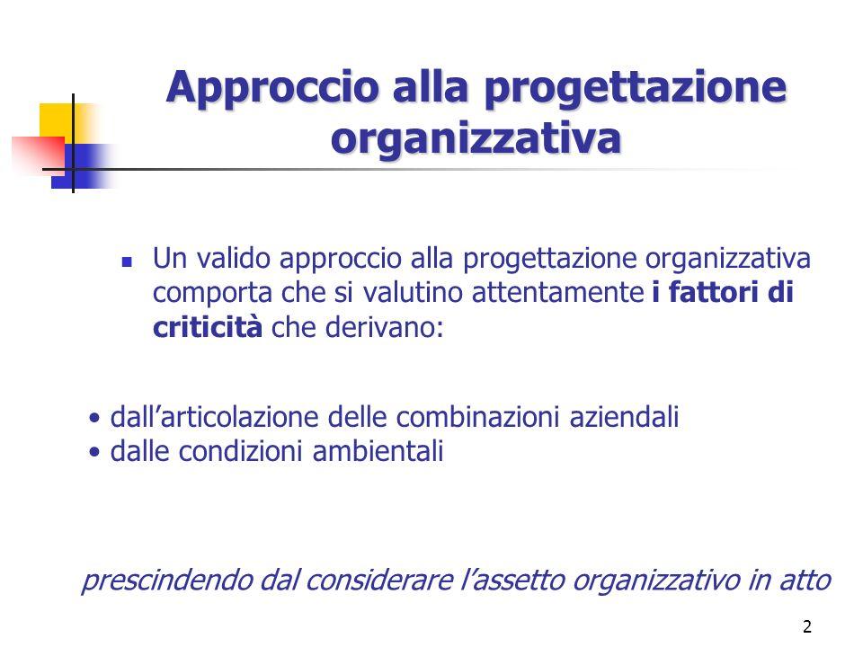 2 Approccio alla progettazione organizzativa Un valido approccio alla progettazione organizzativa comporta che si valutino attentamente i fattori di c