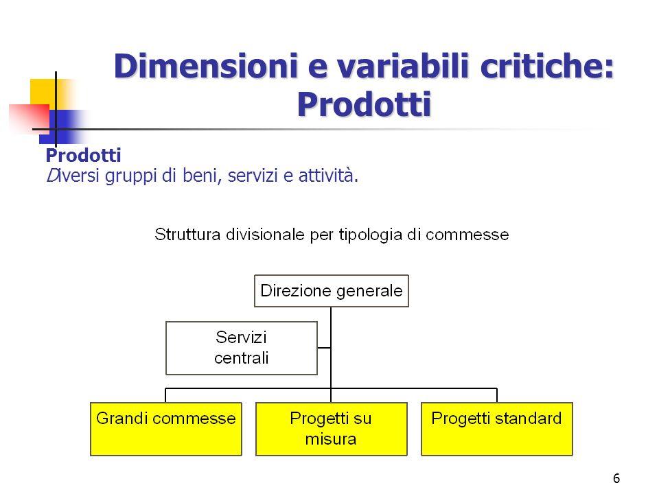 6 Dimensioni e variabili critiche: Prodotti Prodotti Diversi gruppi di beni, servizi e attività.