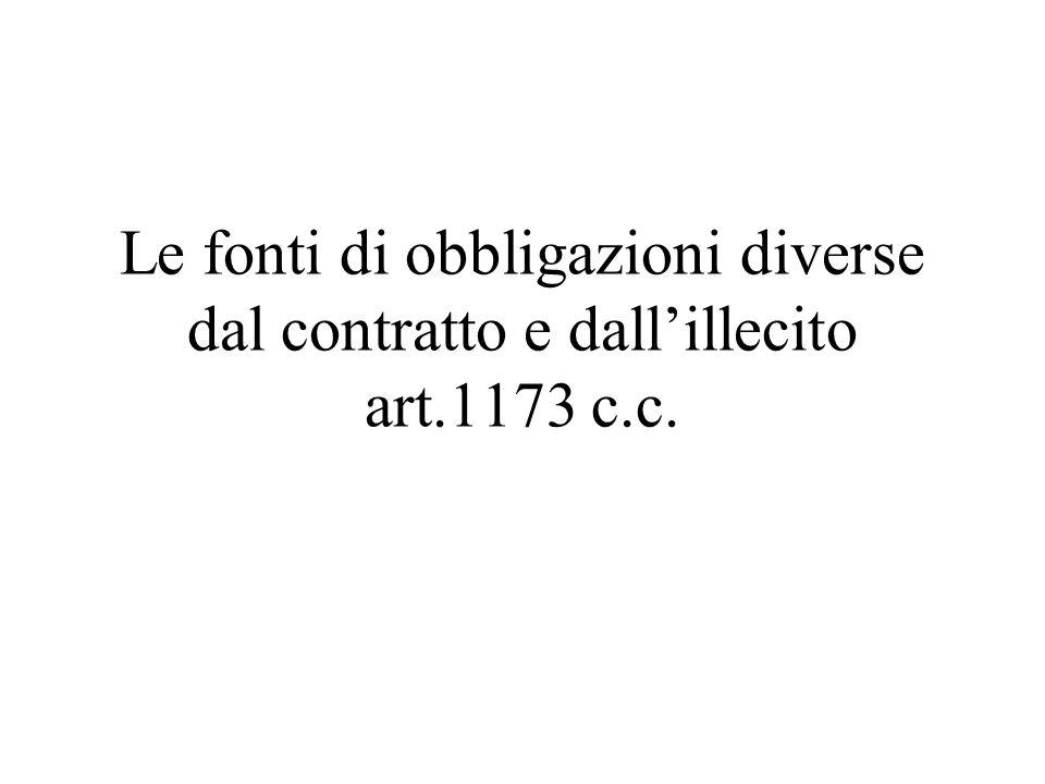 Le fonti di obbligazioni diverse dal contratto e dallillecito art.1173 c.c.