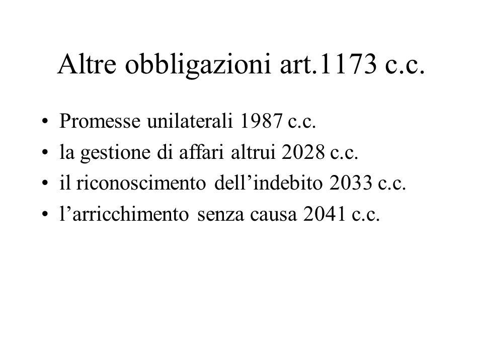 Altre obbligazioni art.1173 c.c. Promesse unilaterali 1987 c.c. la gestione di affari altrui 2028 c.c. il riconoscimento dellindebito 2033 c.c. larric
