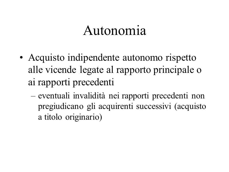 Autonomia Acquisto indipendente autonomo rispetto alle vicende legate al rapporto principale o ai rapporti precedenti –eventuali invalidità nei rappor