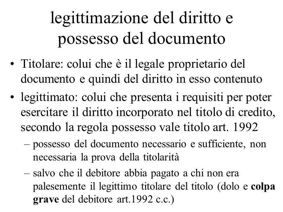 legittimazione del diritto e possesso del documento Titolare: colui che è il legale proprietario del documento e quindi del diritto in esso contenuto