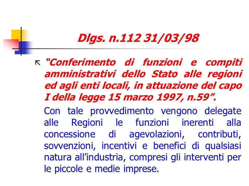 Dlgs. n.112 31/03/98 ã Conferimento di funzioni e compiti amministrativi dello Stato alle regioni ed agli enti locali, in attuazione del capo I della