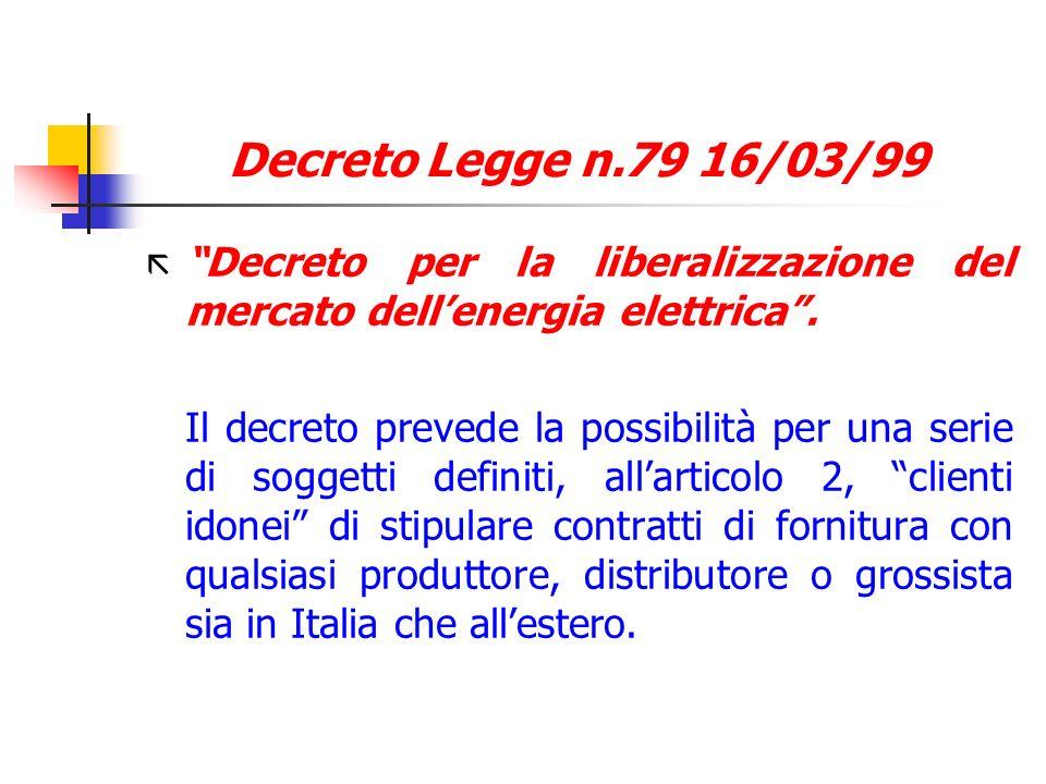 Decreto Legge n.79 16/03/99 ã Decreto per la liberalizzazione del mercato dellenergia elettrica. Il decreto prevede la possibilità per una serie di so